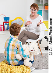 School pedagogue talking with pupil - Nice school pedagogue...