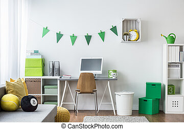 Teenager room with green decorations - Spacious creating and...
