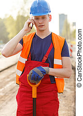 Employee at road construction