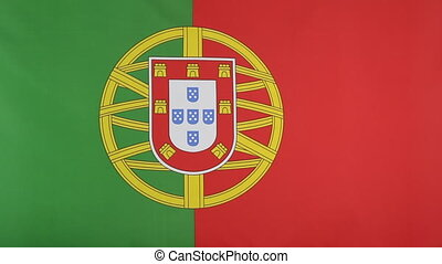 Fabric flag of Portugal moving in the wind