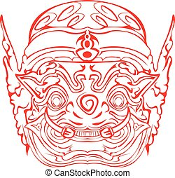 Thai Hon Mask. - Traditional Thai Hon Mark.