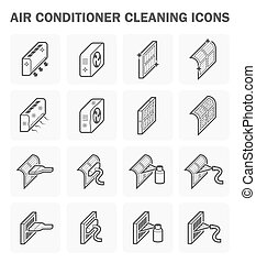 Air conditioner and cleaning - Air conditioner cleaning icon...