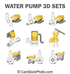 Water pump vector - Vector of water pump sets isolated on...