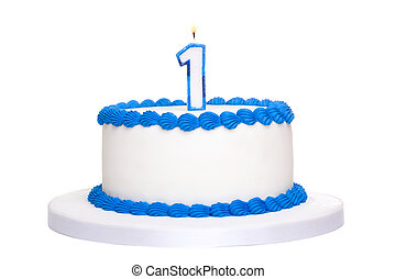 Birthday cake decorated with blue frosting and number one...