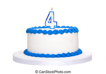 Birthday cake decorated with blue frosting and number four...