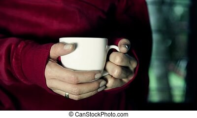 Hot beverage design - Woman hands taking a hot coffee cup,...