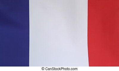 Closeup of flag of France moving in the wind