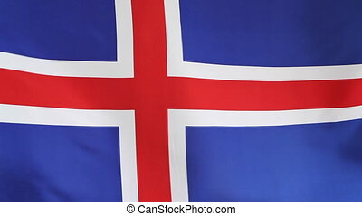 National flag of Iceland in slow motion, fabric flag