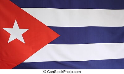 Fabric national flag of Cuba moving in the wind