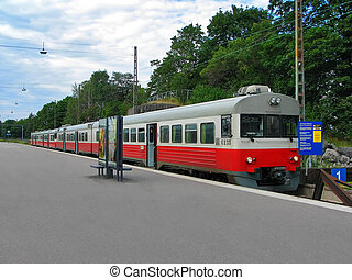 Suburban train on station