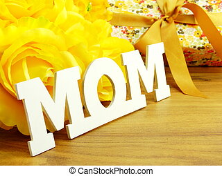 word text mom and flower bouquet mothers day concept