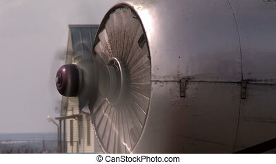 Airplane blade spinnong close up shot - Airplane blade close...