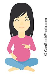 Pregnant woman sitting - An asian pregnant woman sitting...