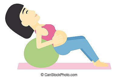 Pregnant woman on gymnastic ball - An asian pregnant woman...