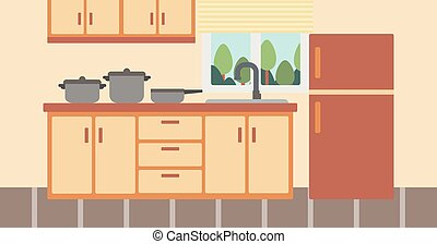 Background of kitchen with kitchenware. - Background of...
