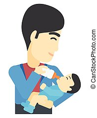 Man feeding baby. - An asian man feeding a little baby with...
