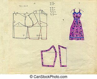 Retro fashion sundress - Hand drawn real vintage fashion...