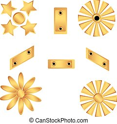Set of decorative gold products