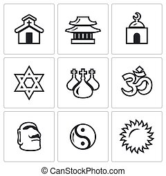 Vector Set of Religion Icons - Church, Temple, Mosque,...