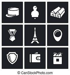 Vector Set of French Legion Icons - Ammunition, Shooting,...