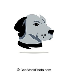 Vector Dog Head of Rhodesian Ridgeback Cartoon Illustration...