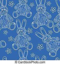 Seamless pattern with buny toys