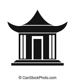 Traditional Chinese House icon, simple style - Traditional...