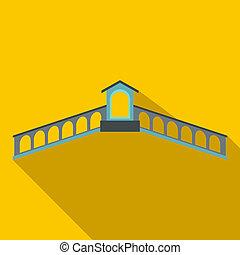 Rialto Bridge, Venice icon, flat style - Rialto Bridge,...
