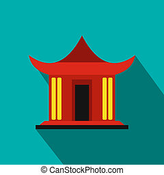 Traditional Chinese House icon, flat style - Traditional...