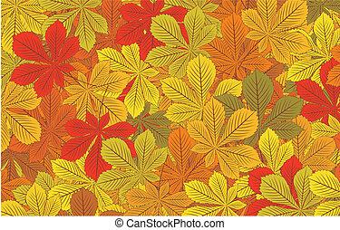 Autumn horse-chestnut leaves vector