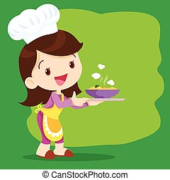 Young girl chefs cooking precent