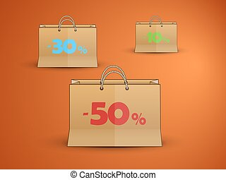paper bags discounts - paper bags with written discounts as...