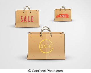 paper bags with inscription sale - illustration with painted...