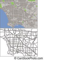 Los Angeles - Illustration city map of Los Angeles in...