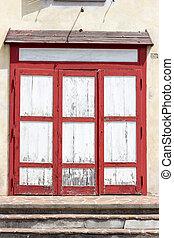 Drewniany, drzwi, zrujnowany,