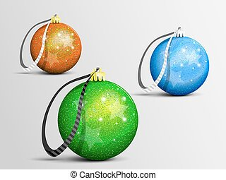 Christmas toys - Christmas balls with ribbons, gleaming in...