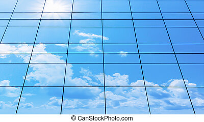 glass facade cloud on the modern building