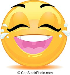 Smiley Emoticon Tears of Joy Face - Vector Illustration of...