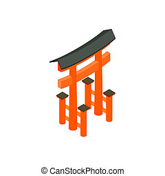 Floating Torii gate, Japan icon in isometric 3d style on a...