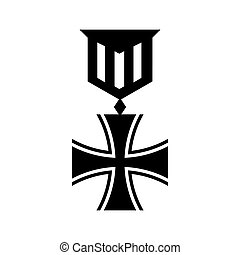 Old german medal icon, simple style - Old german medal icon...