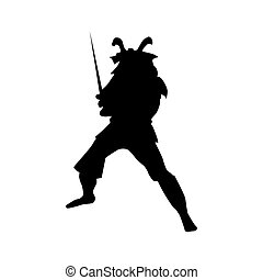 Samurai silhouette black isolated on white background