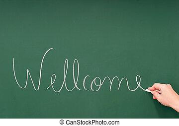 Wellcome written on a blackboard