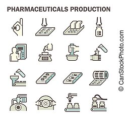 Pharmaceutical vector icon - Pharmaceutical production...
