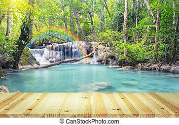 Erawan Waterfall Wood - Scenery of Erawan waterfall with...