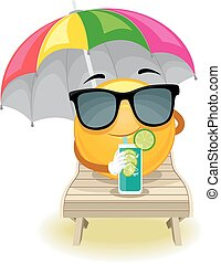 Smiley Emoticon sun bathing - Vector Illustration of Smiley...