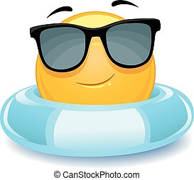 Smiley Emoticon wearing floater - Vector Illustration of...