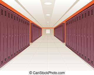 Locker School Hallway - Vector Illustration of Locker School...