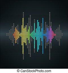 Vector sound wave - Vector retro sound wave Halftone square...