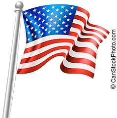 American Flag - An illustration of the American flag on a...