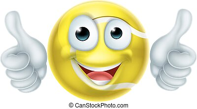 Cartoon Tennis Ball Man Character - A happy cartoon tennis...